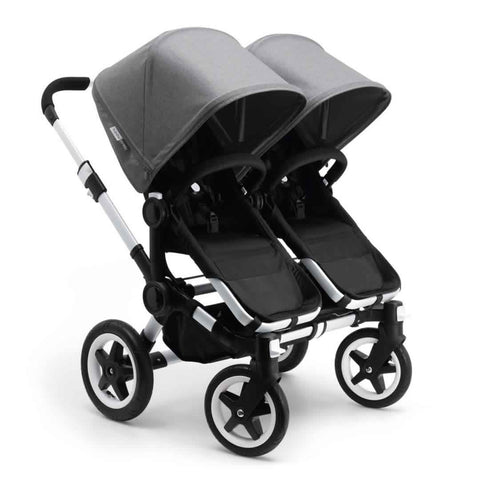 Bugaboo Donkey+ Twin Pushchair in Aluminium with Grey Melange