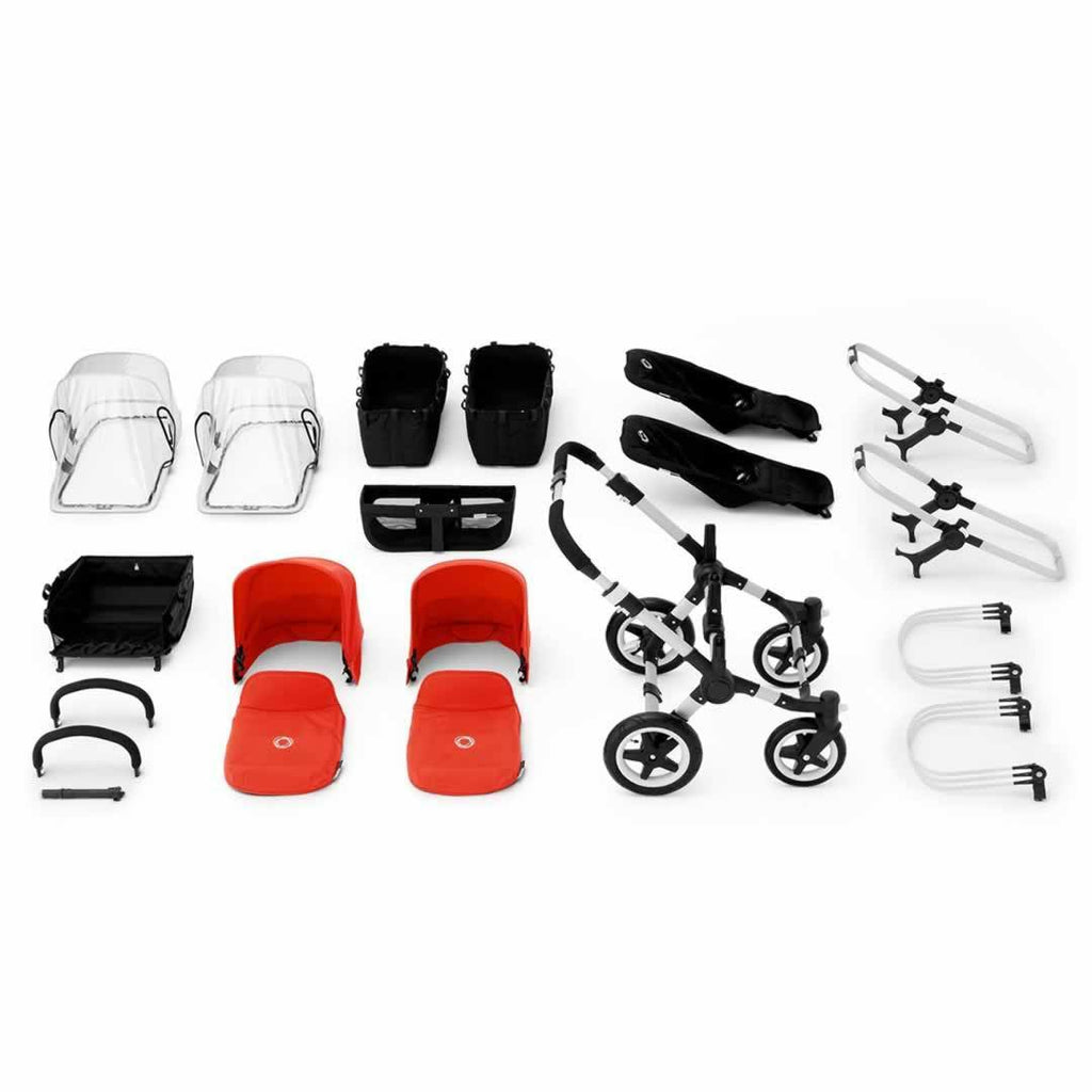 Bugaboo Donkey+ Twin Pushchair Aluminium with Red What you Get