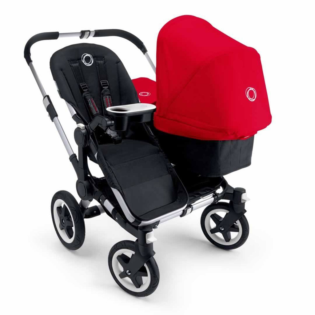 Bugaboo Donkey+ Twin Pushchair Aluminium with Red Seat & Carrycot