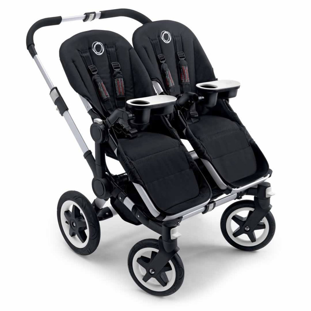 Bugaboo Donkey+ Twin Pushchair in Aluminium with Grey Melange Seats