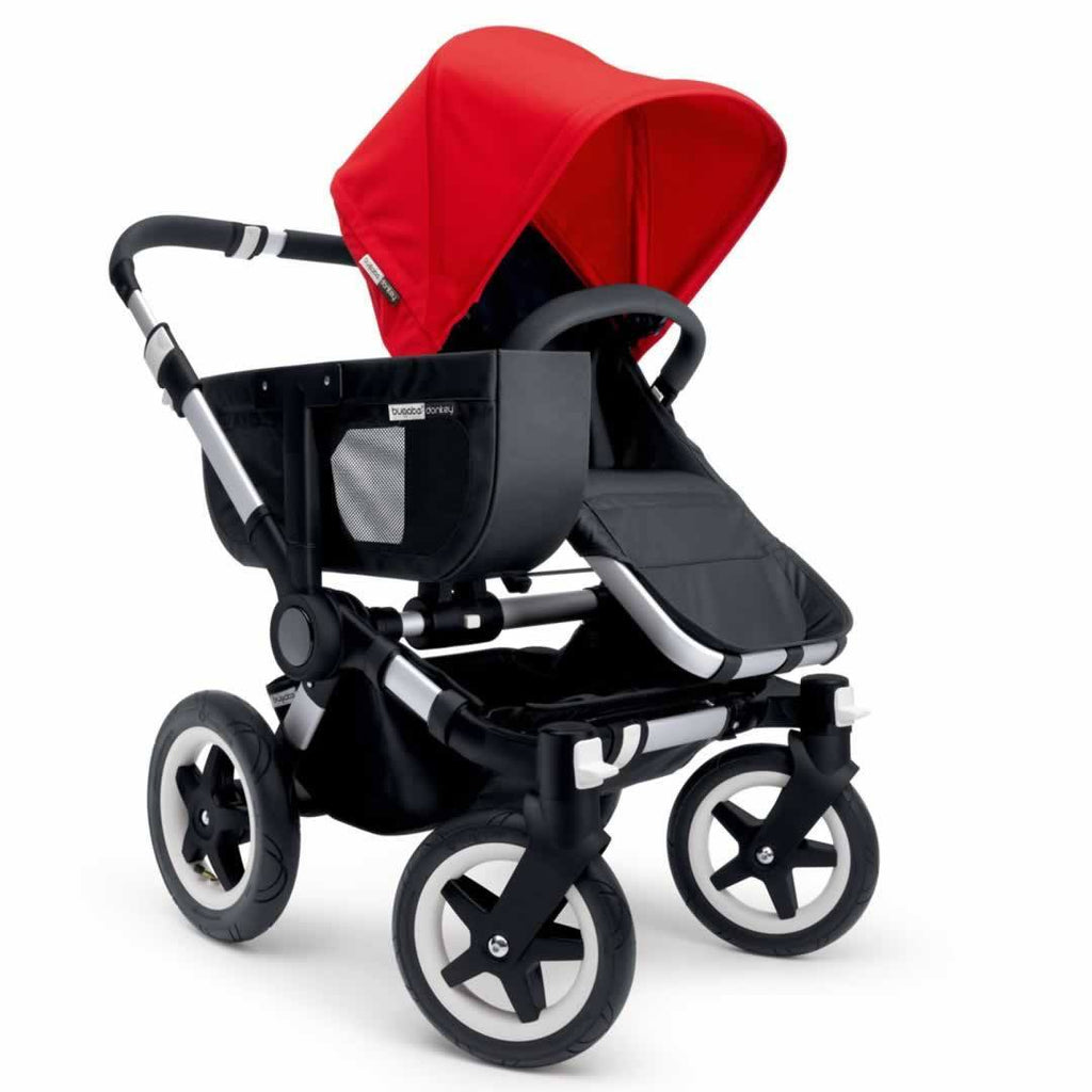 Bugaboo Donkey+ Twin Pushchair Aluminium with Grey Melange Mono Configuration