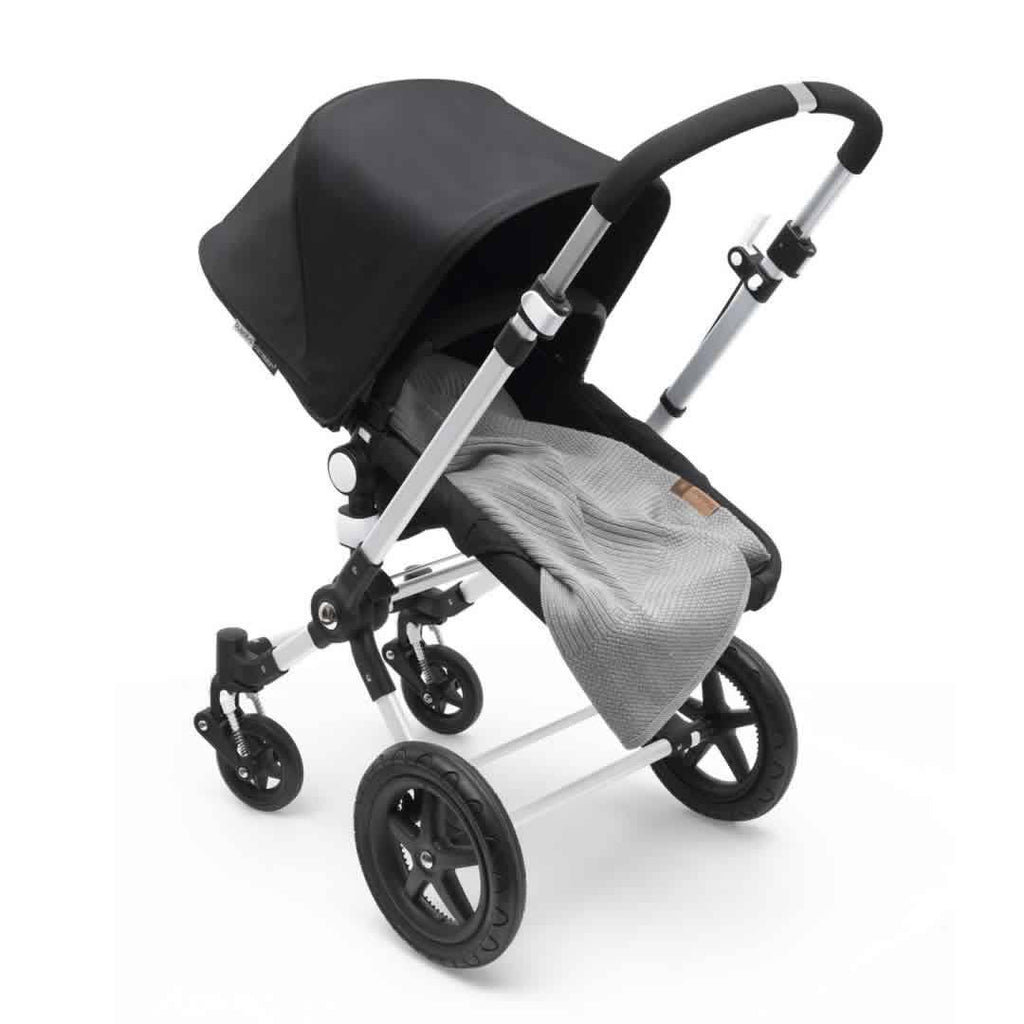 Bugaboo Soft Wool Blanket Light Grey Melange on Pushchair