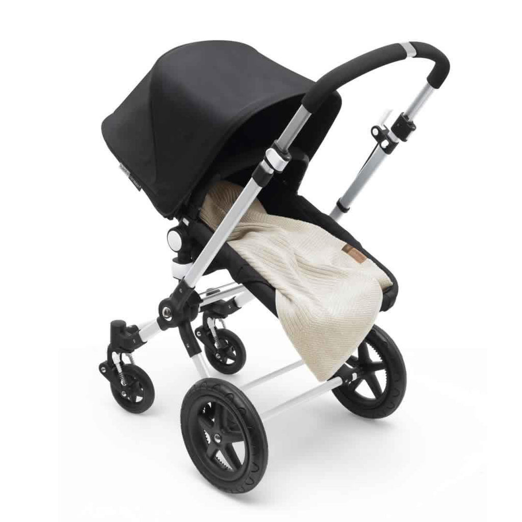Bugaboo Soft Wool Blanket Off White Melange on Pushchair