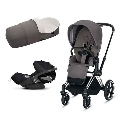CYBEX Priam Travel System - Chrome Black + Manhattan Grey-Travel Systems-No Base- Natural Baby Shower