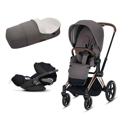 CYBEX Priam Travel System - Rose Gold + Manhattan Grey-Travel Systems-No Base- Natural Baby Shower