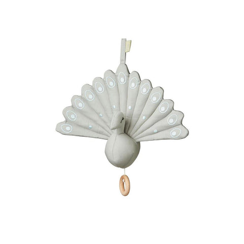 Cam Cam Copenhagen Peacock Music Mobile - Grey-Baby Mobiles- Natural Baby Shower