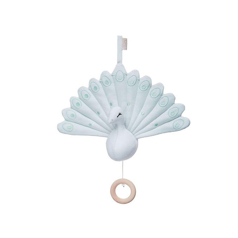 Cam Cam Copenhagen Peacock Music Mobile with Loop - Blue Mist-Baby Mobiles- Natural Baby Shower