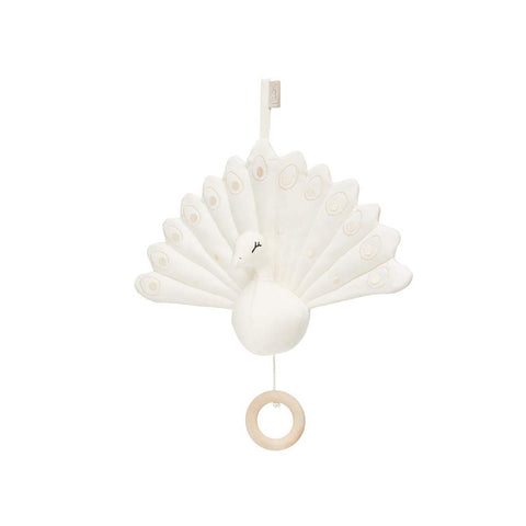 Cam Cam Copenhagen Peacock Music Mobile with Loop - Creme White-Baby Mobiles- Natural Baby Shower