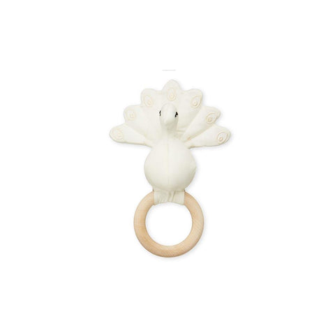 Cam Cam Copenhagen Peacock Rattle - Creme White-Rattles- Natural Baby Shower