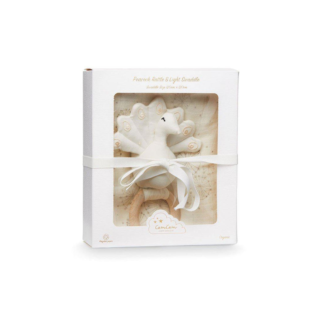 Cam Cam Copenhagen Swaddle & Rattle - Peacock - Dandelion Natural-Gift Sets- Natural Baby Shower