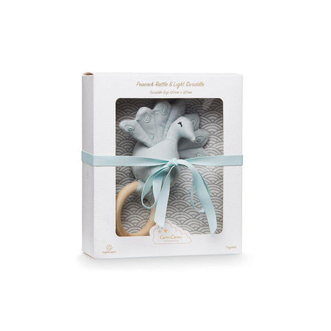 Cam Cam Copenhagen Swaddle & Rattle - Peacock - Grey Wave-Gift Sets- Natural Baby Shower