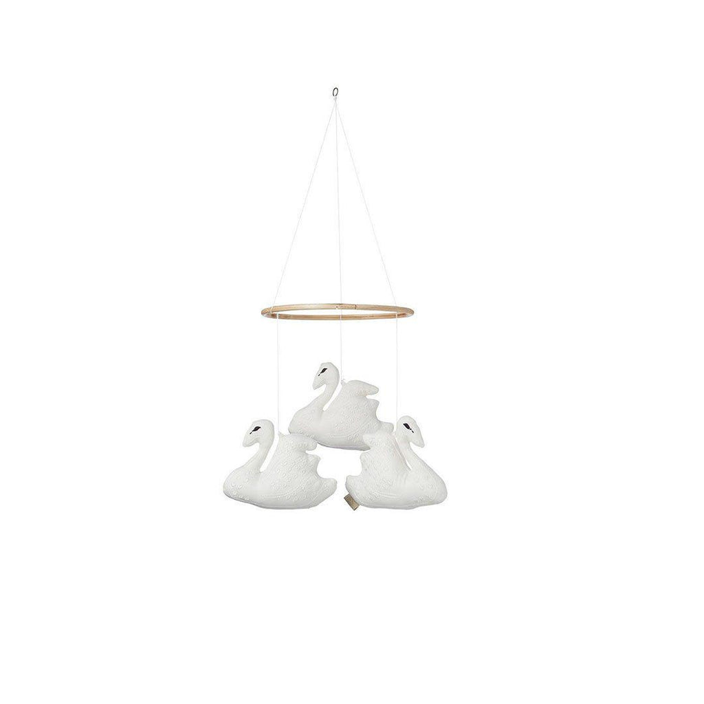 Cam Cam Copenhagen Swan Mobile - Off White-Baby Mobiles- Natural Baby Shower