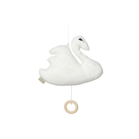 Cam Cam Copenhagen Swan Music Mobile - Off-White-Baby Mobiles- Natural Baby Shower