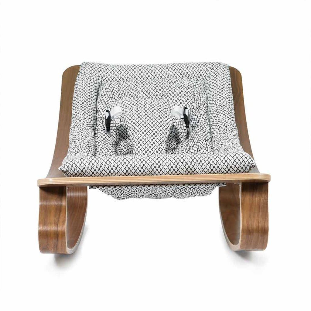 Charlie Crane Levo Baby Rocker - Walnut & Diamond B&W-Rockers- Natural Baby Shower