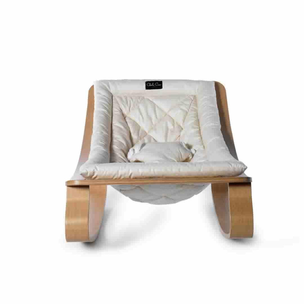 Charlie Crane Levo Baby Rocker - Beech & Gentle White - Baby Bouncer - Natural Baby Shower