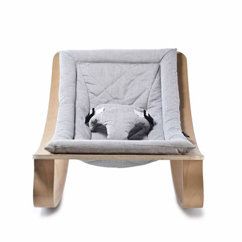 Charlie Crane Levo Baby Rocker - Beech & Sweet Grey - Baby Bouncer - Natural Baby Shower