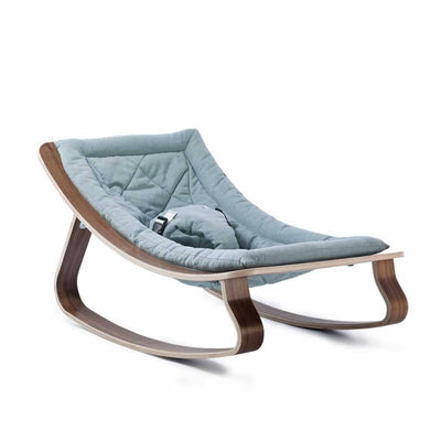 Charlie Crane Levo Baby Rocker - Walnut & Aruba Blue-Rockers- Natural Baby Shower