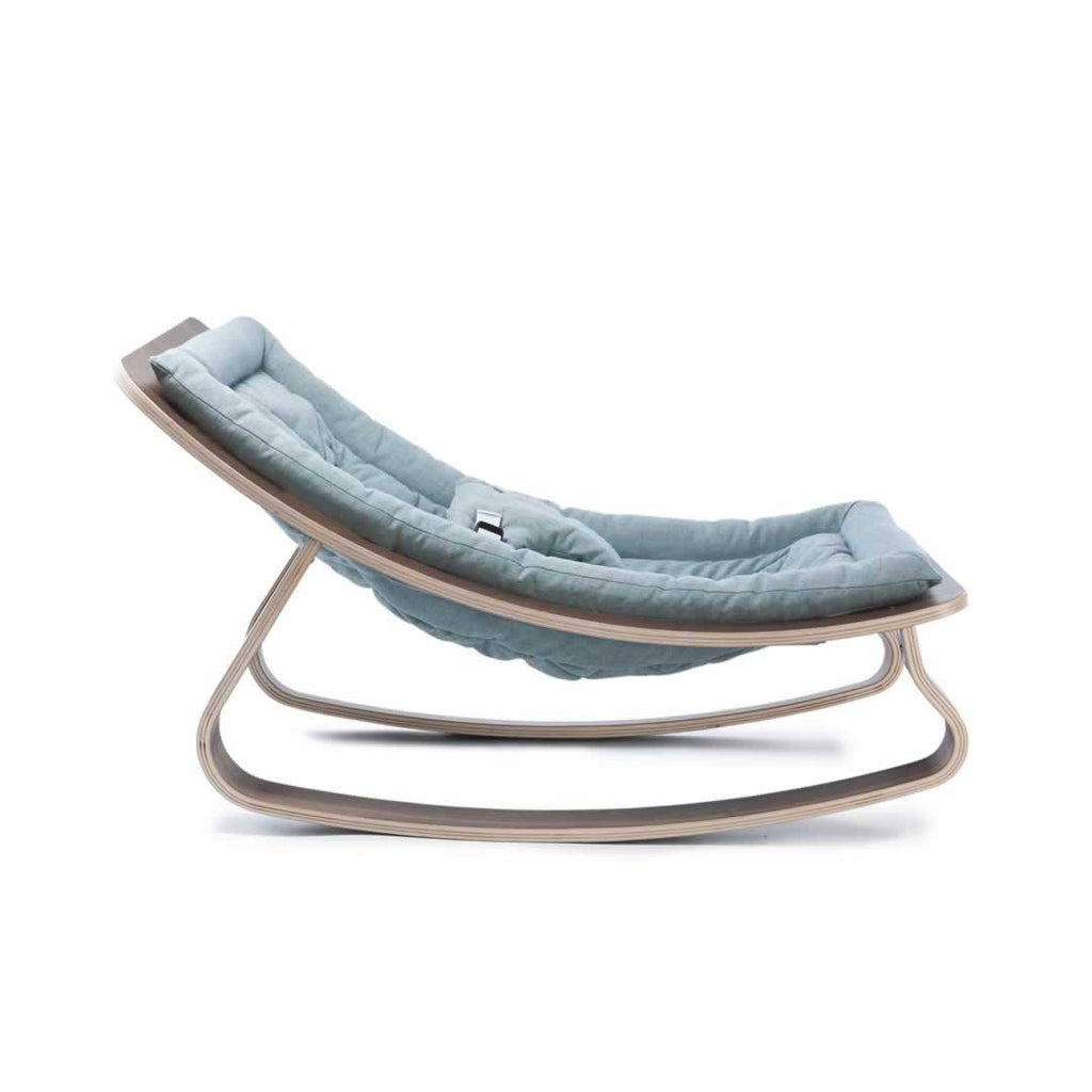 Charlie Crane Levo Baby Rocker - Walnut & Aruba Blue - Baby Bouncer - Natural Baby Shower
