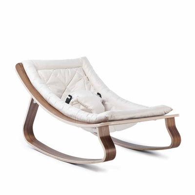 Charlie Crane Levo Baby Rocker - Walnut & Gentle White-Rockers- Natural Baby Shower