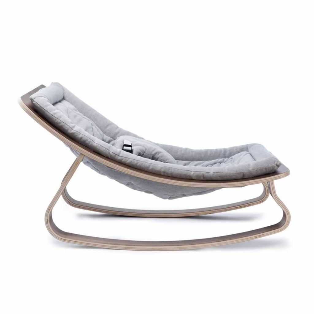 Charlie Crane Levo Baby Rocker - Walnut & Sweet Grey - Baby Bouncer - Natural Baby Shower