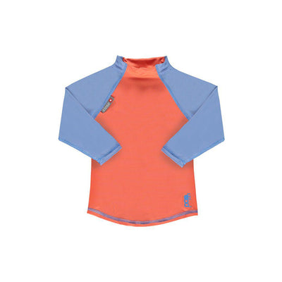 Close Long Sleeve Rash Vest - Coral/Cornflower-Swimwear- Natural Baby Shower