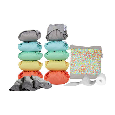 Close Nappy Pack - Middle Box Bamboo - Pastels-Nappy Packs- Natural Baby Shower