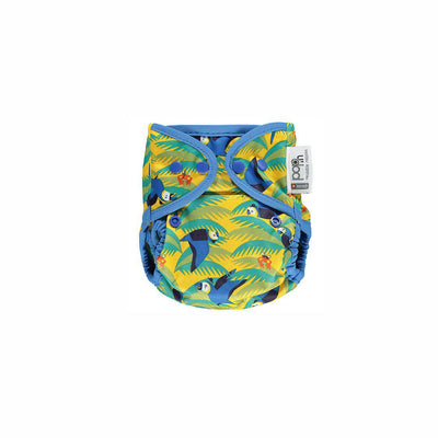 Close Popper Bamboo Nappy - Parrot-Nappies-Parrot- Natural Baby Shower