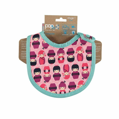 Close Pop-in Bib - Stage 1 - Kokeshi Doll-Bibs- Natural Baby Shower