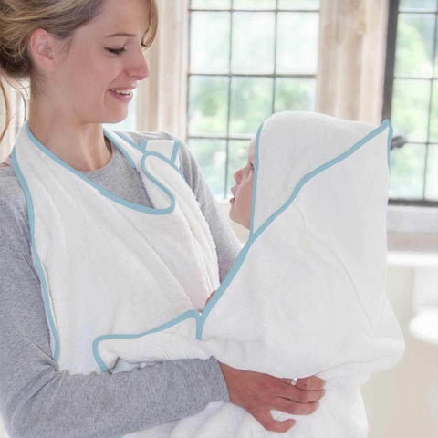 Cuddledry Original Baby Bath Towel - White/Blue-Towels & Robes-White/Blue-Baby- Natural Baby Shower