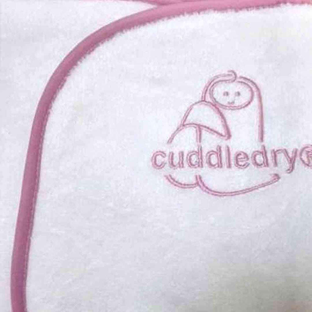 Cuddledry Original Baby Bath Towel White/Pink Edge
