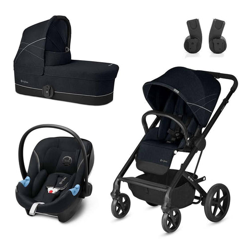 Cybex Balios S Travel System - Lavastone Black-Stroller Bundles- Natural Baby Shower