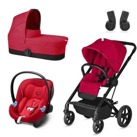 Cybex Balios S Travel System - Rebel Red-Stroller Bundles- Natural Baby Shower
