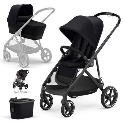 CYBEX Gazelle S Pushchair + Carrycot - Deep Black-Strollers-Black- Natural Baby Shower