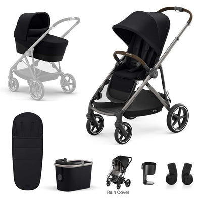 CYBEX Gazelle S Bundle - Deep Black-Stroller Bundles- Natural Baby Shower
