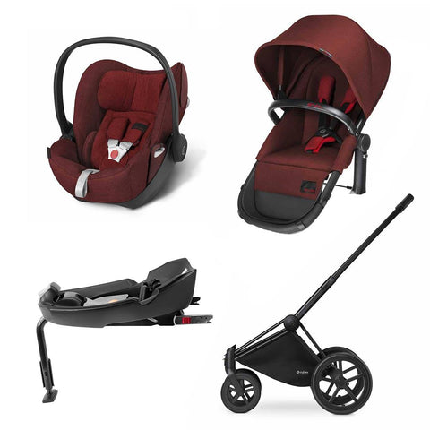 Cybex Priam 2-in-1 Travel System - Plus - Mars Red-Stroller Bundles-Black-All Terrain- Natural Baby Shower