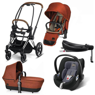 Cybex Priam Lux Q Travel System - Autumn Gold/Graphite Black-Travel Systems- Natural Baby Shower