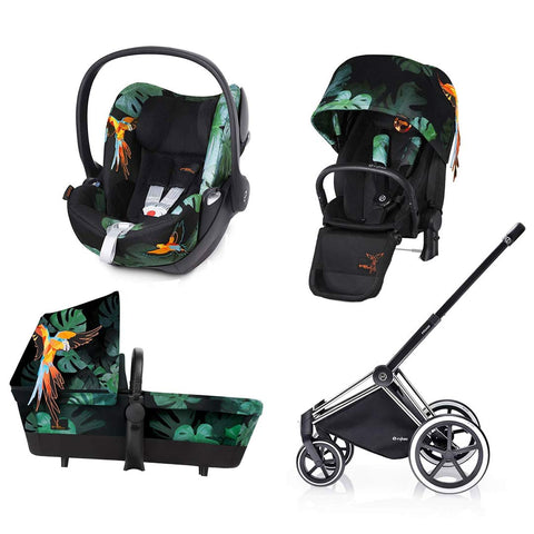 Cybex Priam Lux Travel System - Birds of Paradise-Stroller Bundles-Chrome-All Terrain- Natural Baby Shower