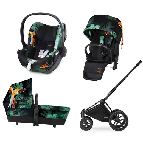 Cybex Priam Lux Travel System - Birds of Paradise-Stroller Bundles-Black-All Terrain- Natural Baby Shower
