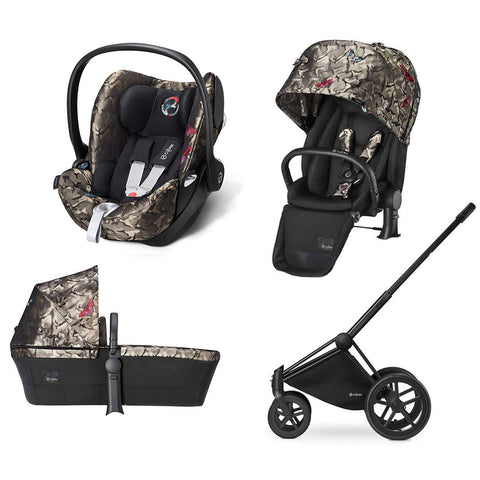 Cybex Priam Lux Travel System - Butterfly-Stroller Bundles-Black-All Terrain- Natural Baby Shower