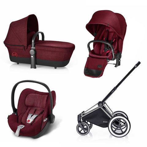 Cybex Priam Lux Travel System - Infra Red-Stroller Bundles-Chrome- Natural Baby Shower