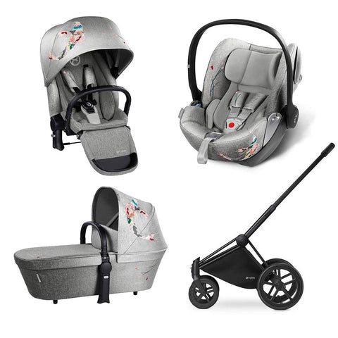 Cybex Priam Lux Travel System - Koi-Stroller Bundles-Black-All Terrain- Natural Baby Shower