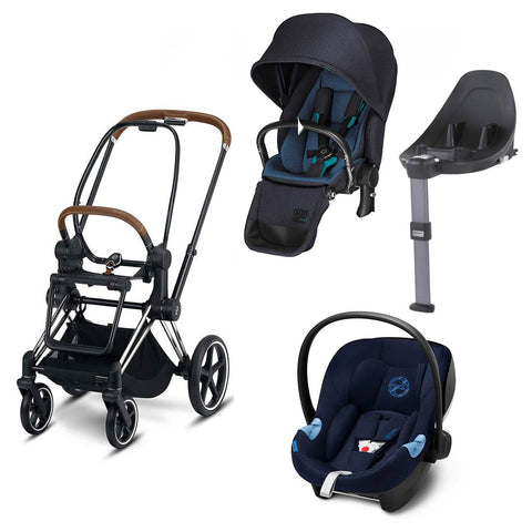Cybex Priam Lux Travel System - True Blue/Indigo Blue-Travel Systems- Natural Baby Shower