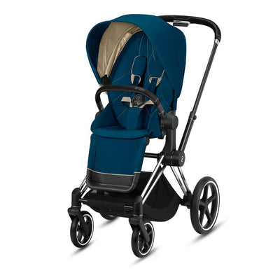 Cybex Priam Pushchair - 2020 - Mountain Blue-Strollers-Chrome Black-None- Natural Baby Shower