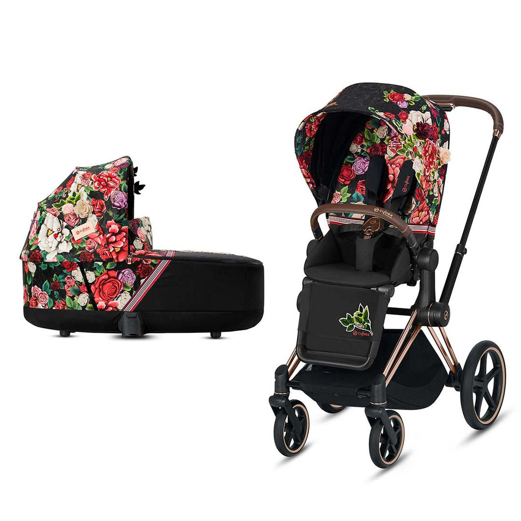 Cybex Priam Pushchair - Spring Blossom Dark-Strollers-Rose Gold-Lux- Natural Baby Shower