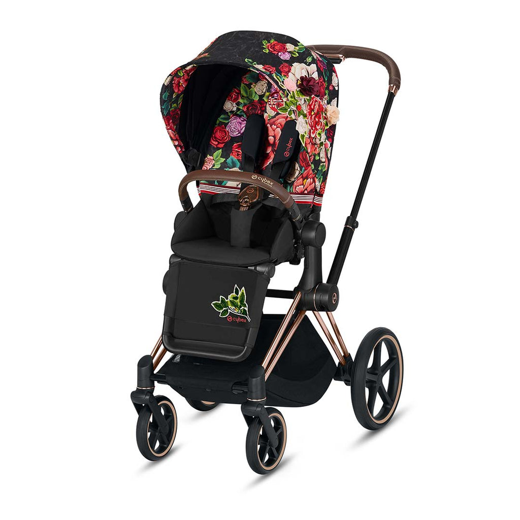 Cybex Priam Pushchair - Spring Blossom Dark-Strollers-Rose Gold-None- Natural Baby Shower