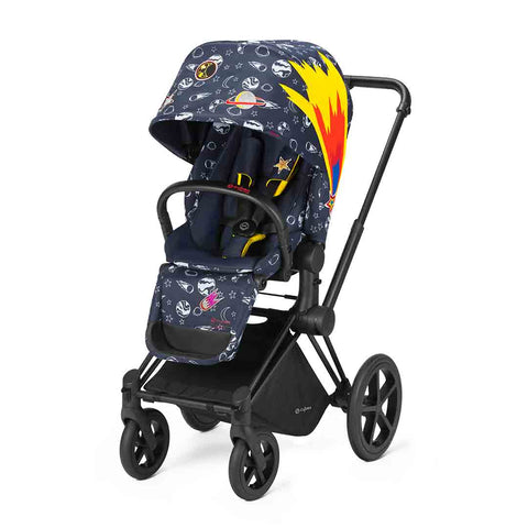 Cybex Priam Pushchair with Lux Seat - Black Chassis + Space Rocket
