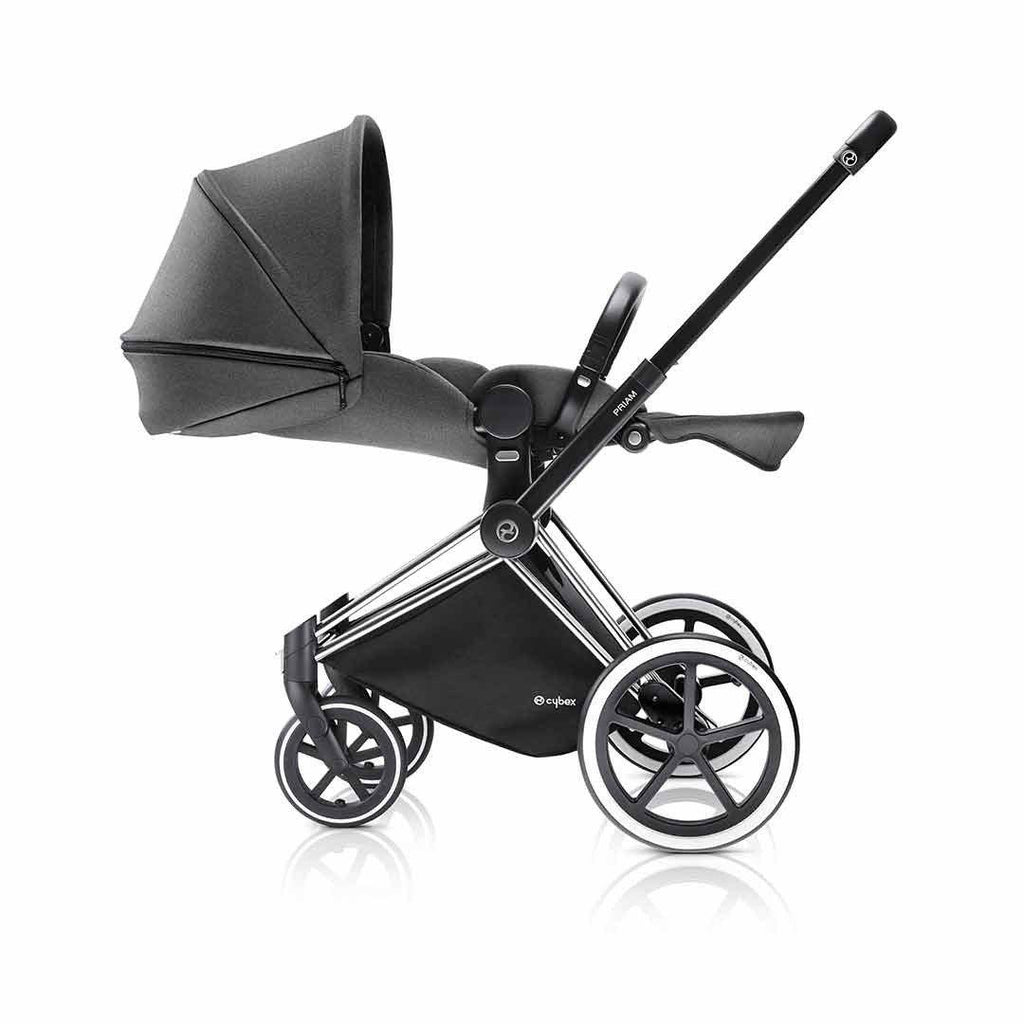 Cybex Priam Pushchair with Lux Seat - Black Chassis + Manhattan Grey Lie Flat