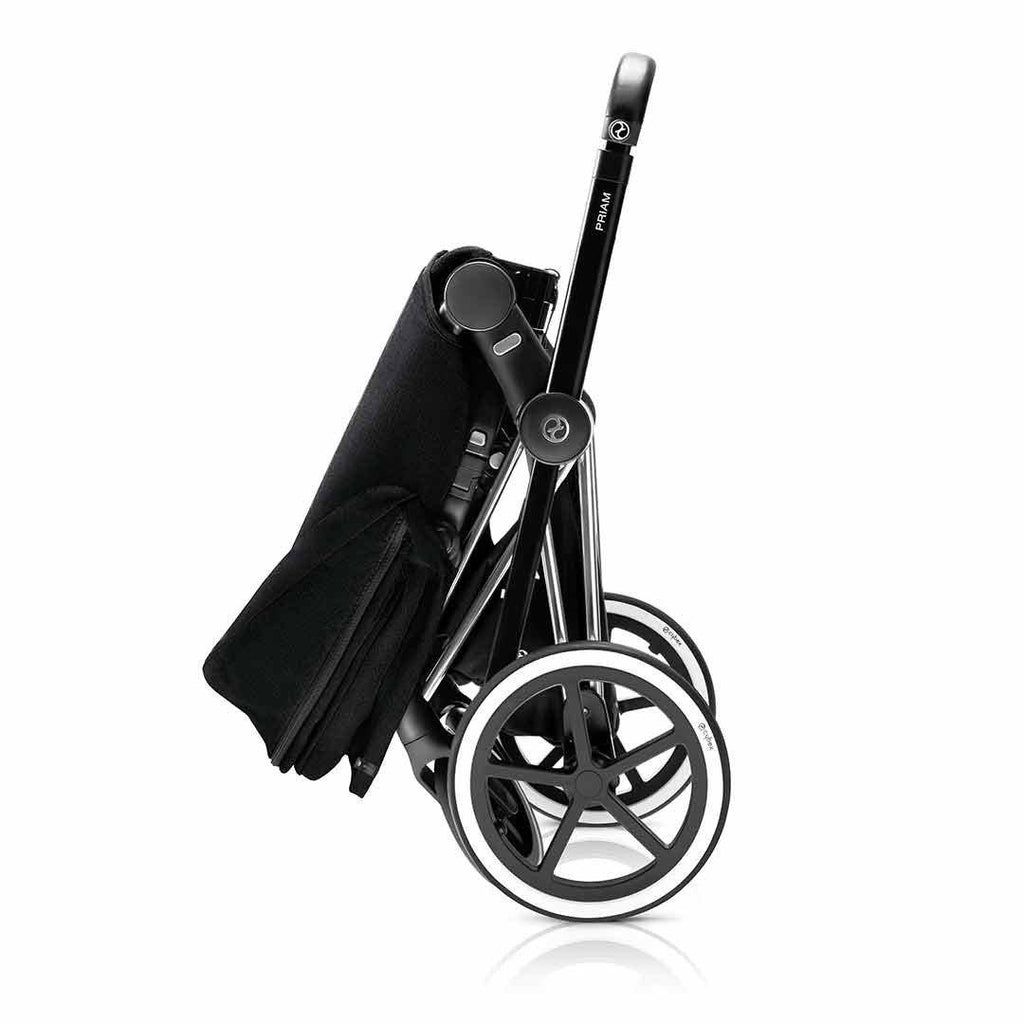 Cybex Priam Pushchair with Lux Seat - Chrome Chassis + Stardust Black Folded