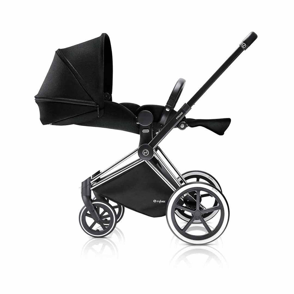 Cybex Priam Pushchair with Lux Seat - Chrome Chassis + Stardust Black Lie Flat