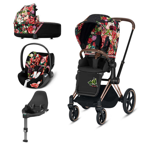 Cybex Priam Travel System - Spring Blossom Dark-Travel Systems-Rose Gold-Lux-Cloud Z + Base- Natural Baby Shower